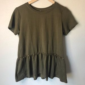 Unbranded Olive Green Peplum Top